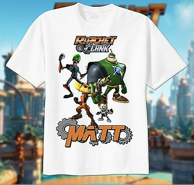 Ratchet and Clank Custom T-shirt Personalize tshirt Birthday CHOOSE NAME, movie