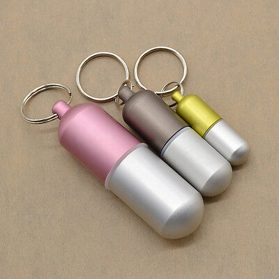 Aluminum Alloy Pill Box Case Waterproof Holder Container Keychain Air-tight Hot