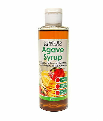 Natures Goodness Organic Agave Syrup 200ml As Sweetener Low GI No Added Sugar