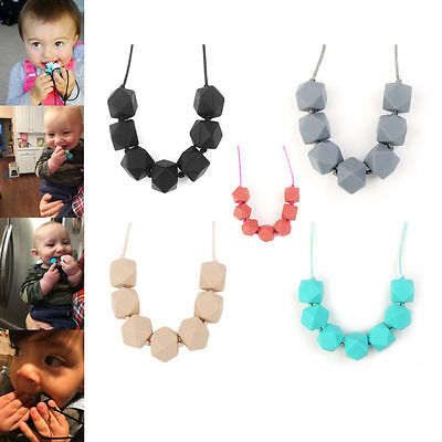 BPA-Free Baby Teether Silicone Teething Necklace Polygon Chew Beads Chain Beige
