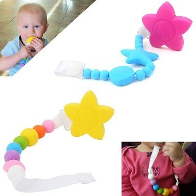 Lovely Baby Silicone Pacifier Soother Teether Teething Star Beads Chain BPA-Free