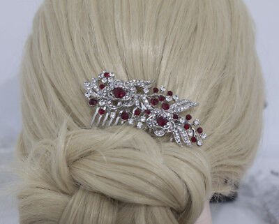 beautiful elegant wedding bridal red hair comb pearl and crystal 1409