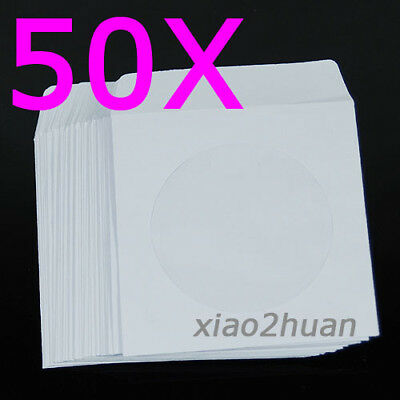 50pcs Mini CD DVD Paper Flap Sleeves Clear Window Case Cover Envelope New