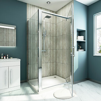 Square Pivot Door Shower Screen Enclosure Cubical With Fixed Glass Side panel