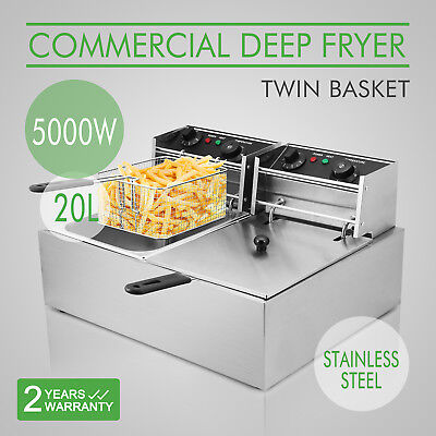 2x10L Commercial Electric Deep Fat Fryer Stainless Steel Twin Double Tank Baset