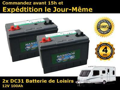 Lot de 2 x Batteries solaire decharge lente 12v 100ah 500 cycles de vie