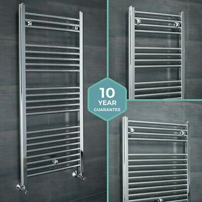 Chrome Straight Heated Bathroom Towel Rail Rad Radiator - FREE 10 Year Guarantee