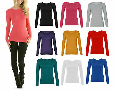 Ladies Womens Plain Short Sleeve & Long Sleeve T-Shirt  Tee Vest Top Size 8-26