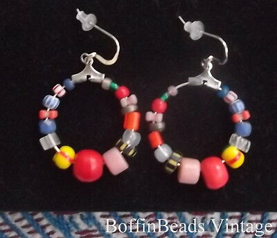 Multi-coloured HOOP EARRINGS old antique African collectable beads  .925 silver