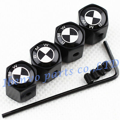Anti-theft Black Metal Car Wheel Tyre Tire Stem Air Valve Cap For BMW Motors B&W