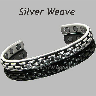 TARNISH FREE Copper Magnetic Bracelet Arthritis Injury Pain Relief –Silver Weave