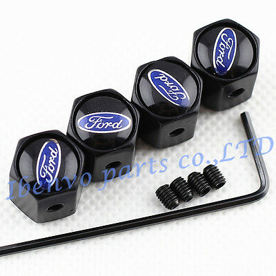 Anti-theft Black Metal Car Wheel Tyre Tire Stem Air Valve Cap For Ford Vehicles