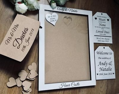 Wedding Guestbook,White, Personalised Wooden hearts keepsake box A3  Frame