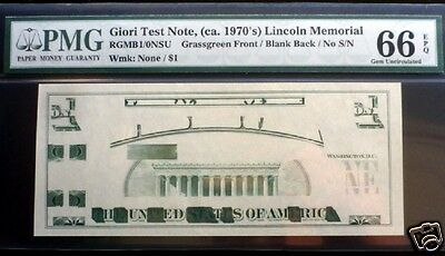GIORI TEST NOTE, ca.1970'S LINCOLN MEMORIAL NO S/N PMG 66 EPQ GEM QUALITY .