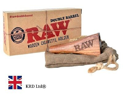 RAW DOUBLE BARREL KING SIZE Wooden Cigarette Cone Joint holder Gift + BAG POUCH