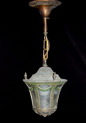 Antique 1920s Cast Brass Laurel Wreath Pendant Light