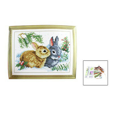 Rabbit Grass Pattern Stamped Cross Stitch Counted Kit for Lady Woman FP7