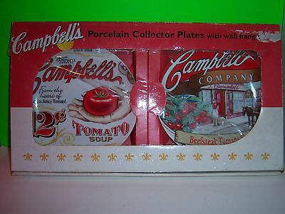 Set of 2 Campbell's Soup Porcelain Collector Plates with Wall Hangers 2004