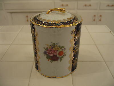 Cobalt Blue Gold Trim  Floral Cracker Biscuit Jar Cannister Winrose Collection
