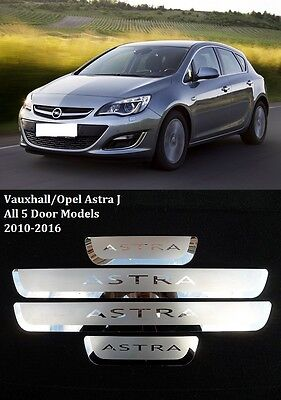 Vauxhall/opel Astra J 2010-2016 4 Piece Stainless Steel Door Sill Scuff Plates