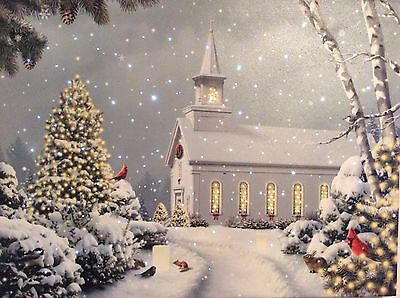 "Fiber Optic  24"" Lighted Canvas Christmas Winter Cardinal Church Print"