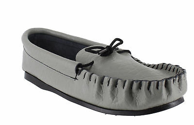British Hand Made Mens Casual Grey Leather Moccs Moccasins Slippers
