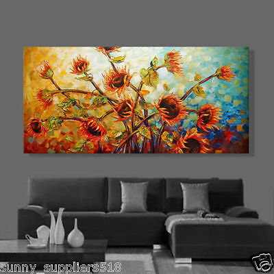 Large Modern hand-painted Art Oil Painting Wall Decor canvas:sunflower(No Frame)