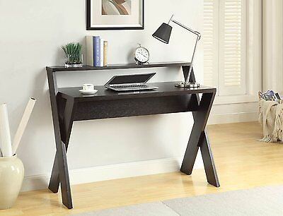 Home Office Furniture Modern Desk Table Shelf Espresso Wide Desktop Wood Unique