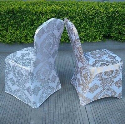 Golden/Silver Floral Print  Spandex Lycra Chair Cover Wedding Party Prom Event