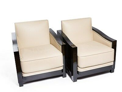 Pair Art Deco Chairs, Black Lacquered Wood & Leather Covering