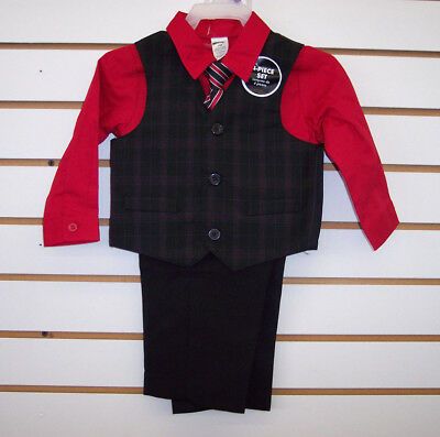 Infant & Toddler Boys 4pc Red & Black Suit Size Newborn - 5T