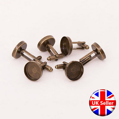 Antique Bronze Cufflink Setting Blanks Fits 16mm Cabochon