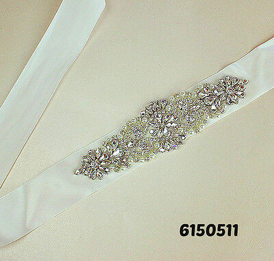 Crystal and Pearl Wedding Sash Bridal Dress Belt USA Seller