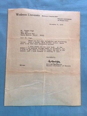 Typed Signed Letter - From Author William Manchester