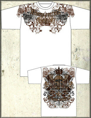 Xtreme Couture Affliction Crossed Up Studded Crown Skull T-Shirt White UFC NEW