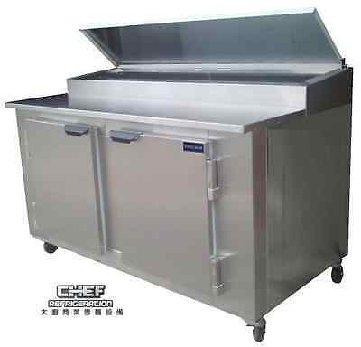 "Coolman Commercial 2- Door Refrigerated Pizza Prep Table 60""(BACK MOTOR)"