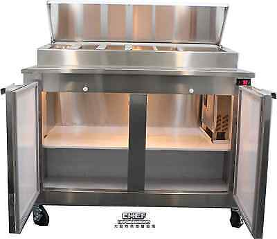 "Coolman Commercial 2- Door Refrigerated Pizza Prep Table TOP  48""(BACK MOTOR)"
