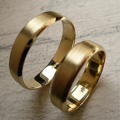 14K SOLID GOLD HIS & HER WEDDING, ANNIVERSARY BANDS RING SET 6-12 free engraving