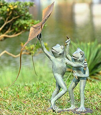 Kite Flying Frogs Garden Sculpture, New, Free Shipping