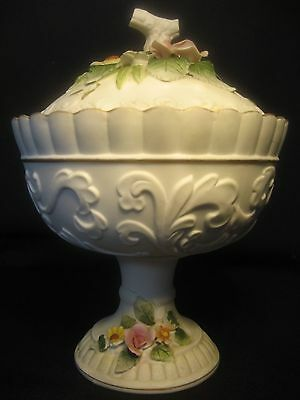 Lefton China Hand Painted Lidded Pedestal Candy Dish With Floral Design