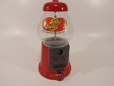"""Vintage 11"""" Jelly Belly Bean Dispenser Metal Glass Coin Operated Gumball Machine"""
