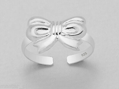 925 Sterling Silver Bow Ribbon Top Design Toe Ring Adjustable Body Jewellery