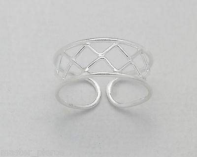 925 Sterling Silver Diamond Pattern Design Toe Ring Adjustable Body Jewellery