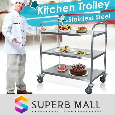 Trolley Stainless Steel Kitchen Dining Service Food Utility Cart 3 Tier