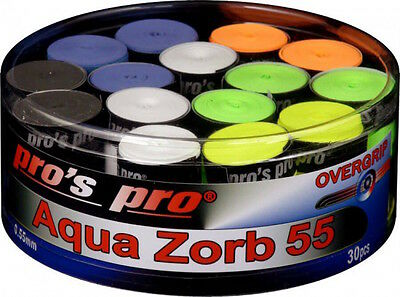 Pro's Pro Aqua Zorb 55 - Box of 30 Overgrip Tennis - Badminton - Squash - Mixed