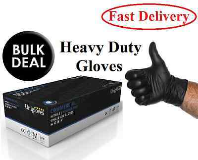 1000 x Unigloves Extra Strong Powder Free Commercial Black Nitrile Gloves Boxed