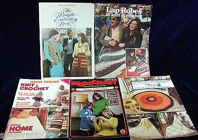 5 x  KNITTING Books Rugs Crochet Craft Embroidery Magazines   SirH70