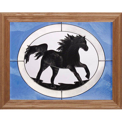 Black Horse Silhouette Stained Glass Wall Art