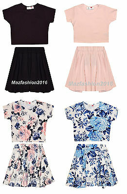 Minx Girls Pink,Blue Floral, Plain Pink, Blue Crop Top And Skirt Blue 7-13 Years