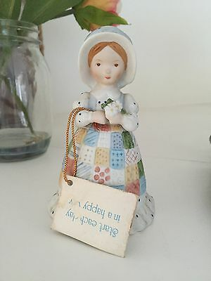Holly Hobbie Figurine Blue Girl Bell with Original Swing Tag Rare